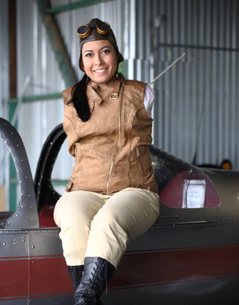 Jessica Cox in piloting gear