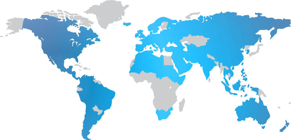 World map with highlighted areas