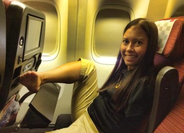 Jessica Cox on an airplane