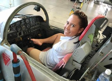 Jessica Cox inside small airplane